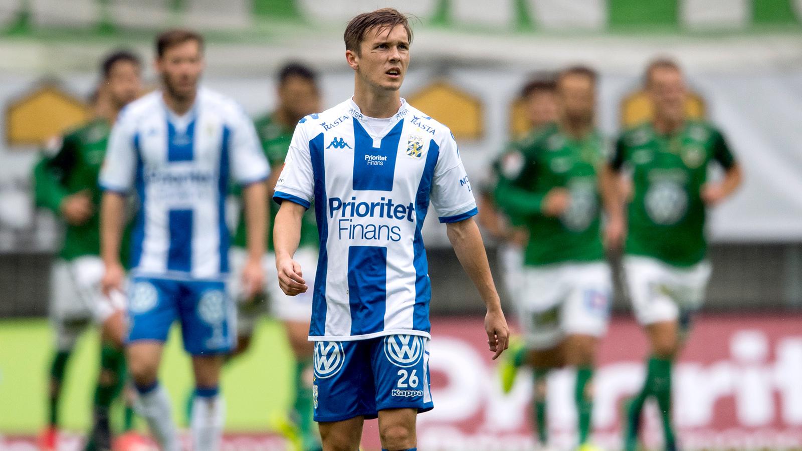 170916 IFK Göteborgs Patrik Karlsson Lagemyr deppar efter 0-1 under fotbollsmatchen i Allsvenskan mellan IFK Göteborg och Jönköping den 16 september 2017 i Göteborg.