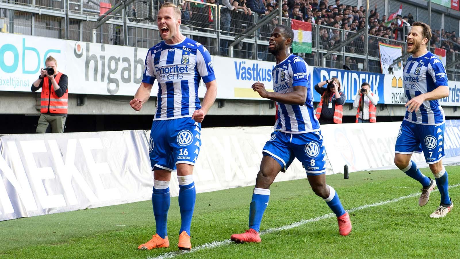180419 IFK Göteborgs Gustav Engvall jublar efter att han gjort 1-0 under fotbollsmatchen i Allsvenskan mellan IFK Göteborg och Dalkurd den 19 april 2018 i Göteborg. Foto: Carl Sandin / BILDBYRÅN / kod CS / 57999_340
