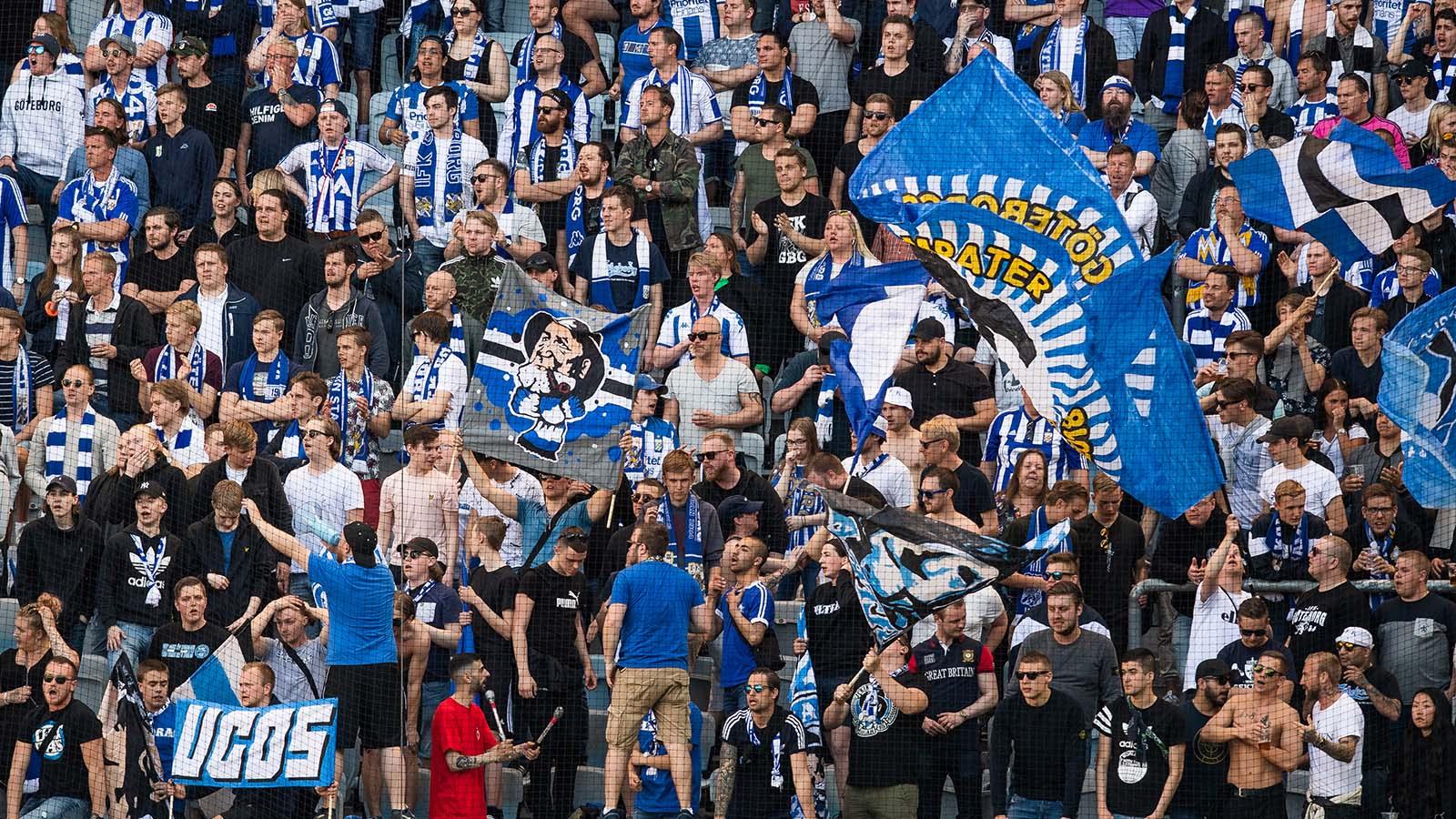 180507 IFK Göteborgs supportrar inför fotbollsmatchen i Allsvenskan mellan Malmö FF och IFK Göteborg 7 maj 2018 i Malmö. Foto: Ludvig Thunman / BILDBYRÅN / kod LT / 35478