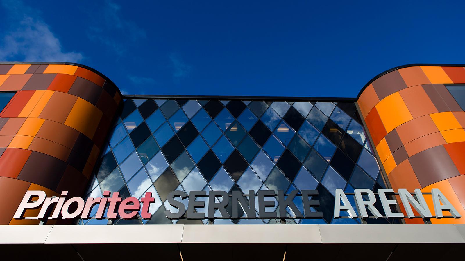 160214 Prioritet Serneke Arena exteriört innan en träningsmatch i fotboll mellan IFK Göteborg och Stabaek den 14 februari 2016 i Göteborg.