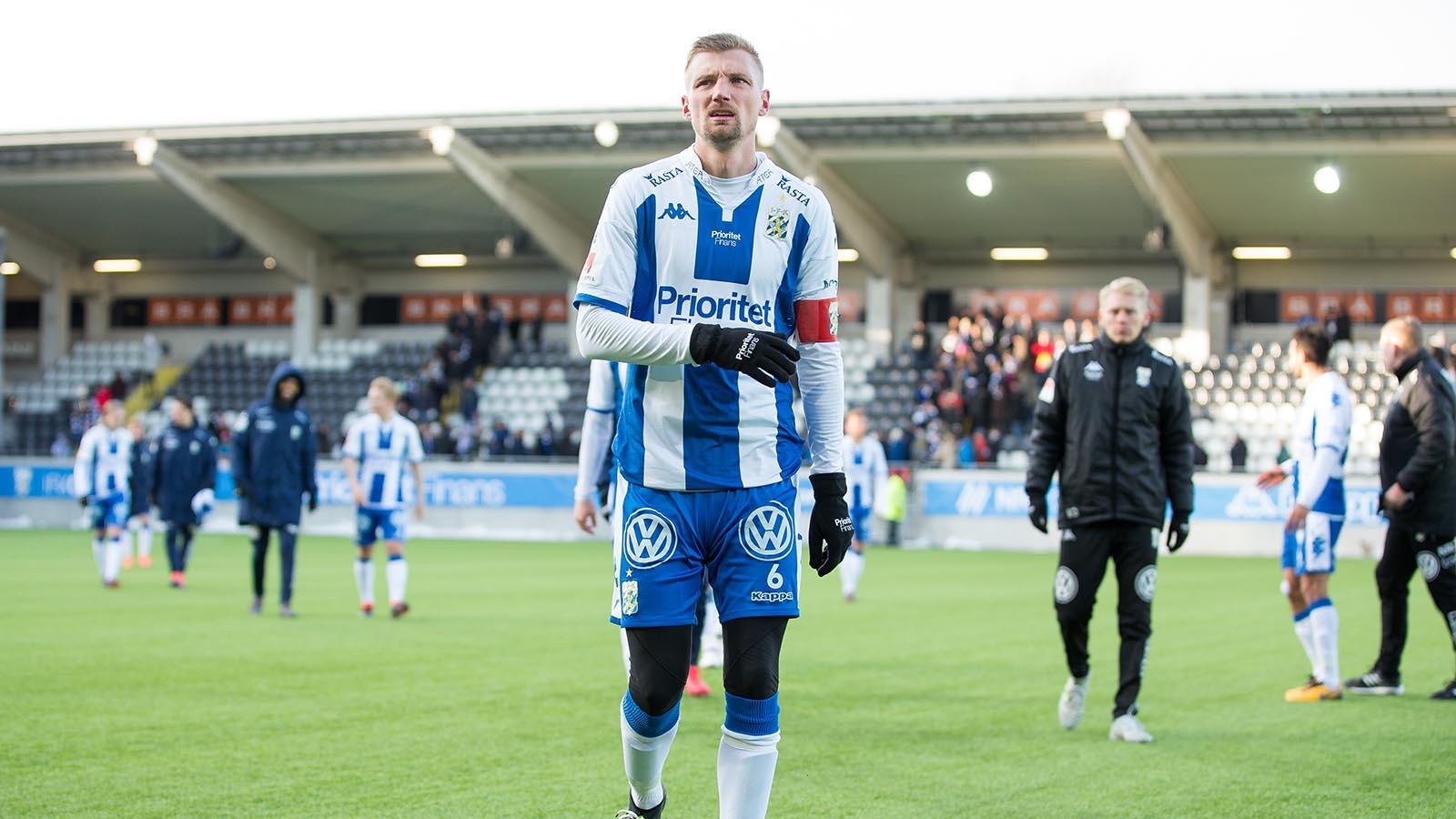 180224 IFK Göteborgs Sebastian Eriksson efter en fotbollsmatch i Svenska Cupen mellan IFK Göteborg och Öster den 24 februari 2018 i Göteborg. Foto: Michael Erichsen / BILDBYRÅN / Cop 89
