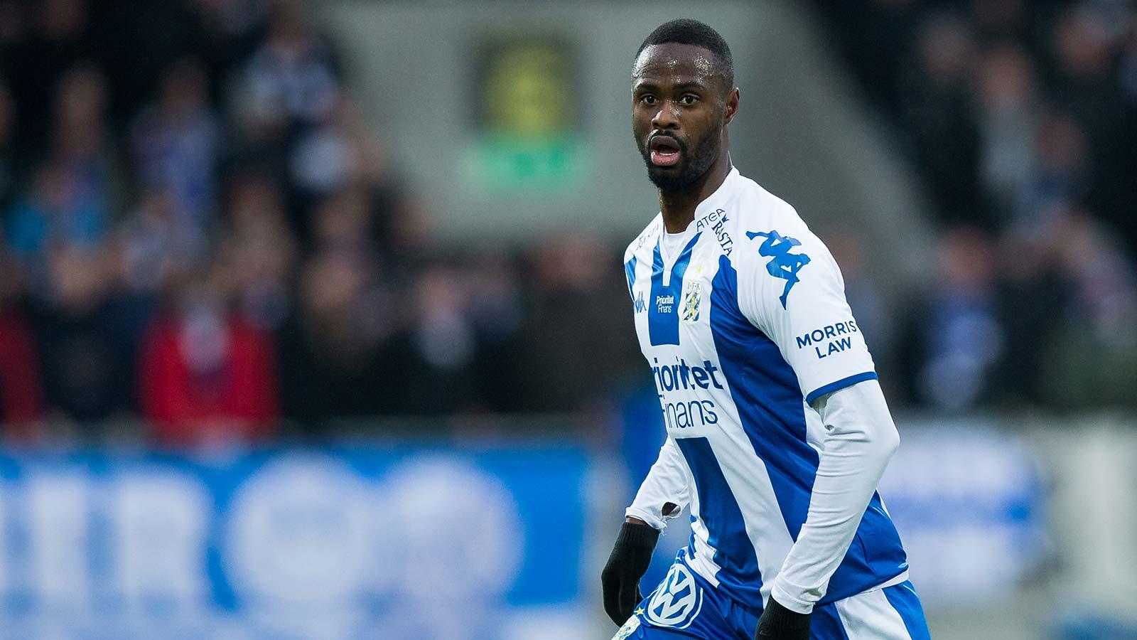 180217 IFK Göteborgs Vajebah Kaliefah Sakor under en fotbollsmatch i Svenska Cupen mellan IFK Göteborg och Varberg den 17 februari 2018 i Göteborg.