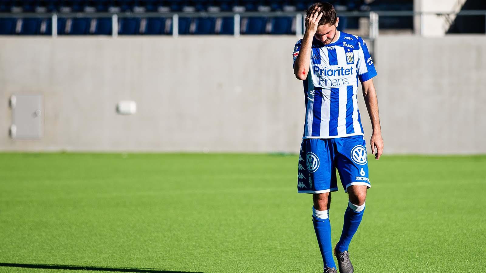 180902 IFK Göteborgs Fredrik Oldrup Jensen deppar efter fotbollsmatchen i Allsvenskan mellan Dalkurd och IFK Göteborg den 2 September 2018 i Gävle. Foto: Kenta Jönsson / BILDBYRÅN / Cop 210