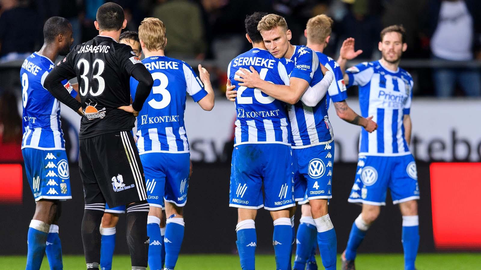 180419 IFK Göteborgs Carl Starfelt jublar efter fotbollsmatchen i Allsvenskan mellan IFK Göteborg och Dalkurd den 19 april 2018 i Göteborg. Foto: Carl Sandin / BILDBYRÅN / kod CS / 57999_340