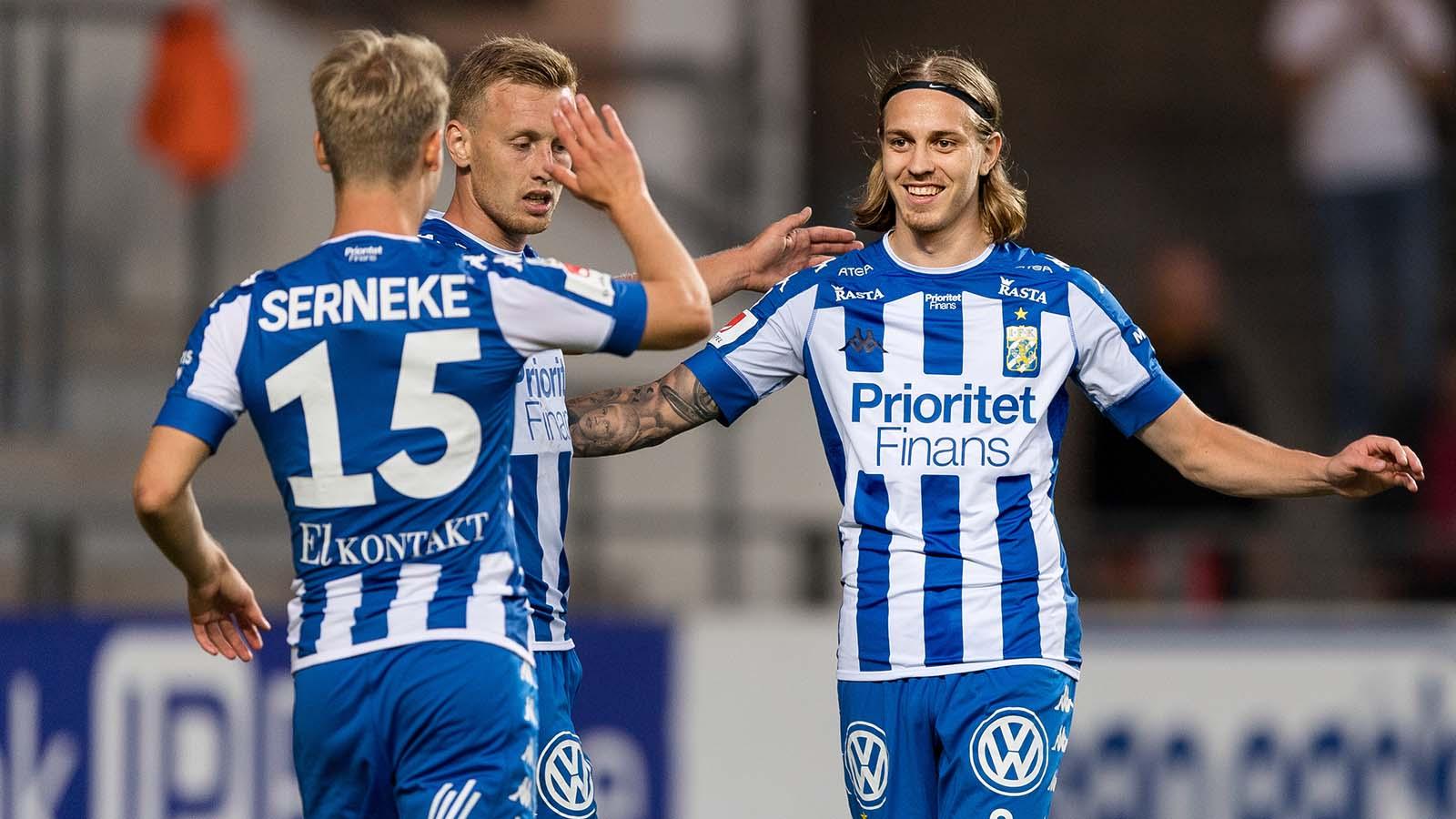180714 IFK Göteborgs Elias Mar Omarsson jublar efter 2-0 under fotbollsmatchen i Allsvenskan mellan IFK Göteborg och Örebro den 14 juli 2018 i Göteborg. Foto: Krister Andersson / BILDBYRÅN / Kod KA / Cop 147
