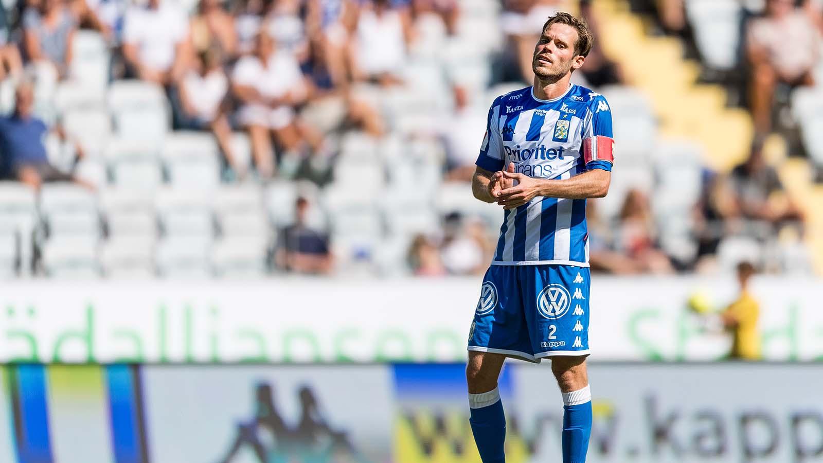 180708 IFK Göteborgs Emil Salomonsson deppar under fotbollsmatchen i Allsvenskan mellan IFK Göteborg och Kalmar den 8 juli 2018 i Göteborg. Foto: Krister Andersson / BILDBYRÅN / Kod KA / Cop 147