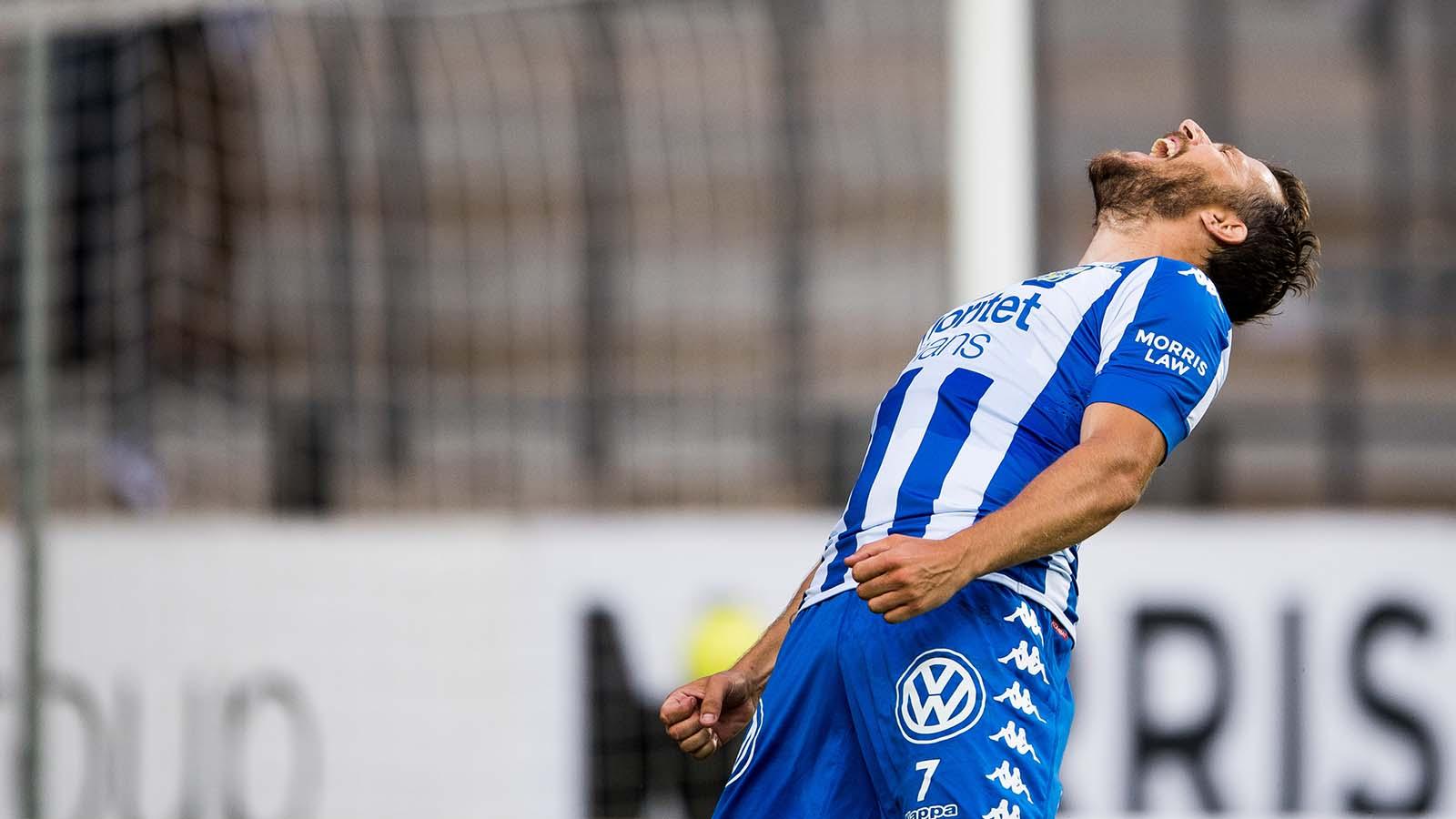 180714 IFK Göteborgs Tobias Hysén reagerar under fotbollsmatchen i Allsvenskan mellan IFK Göteborg och Örebro den 14 juli 2018 i Göteborg. Foto: Krister Andersson / BILDBYRÅN / Kod KA / Cop 147