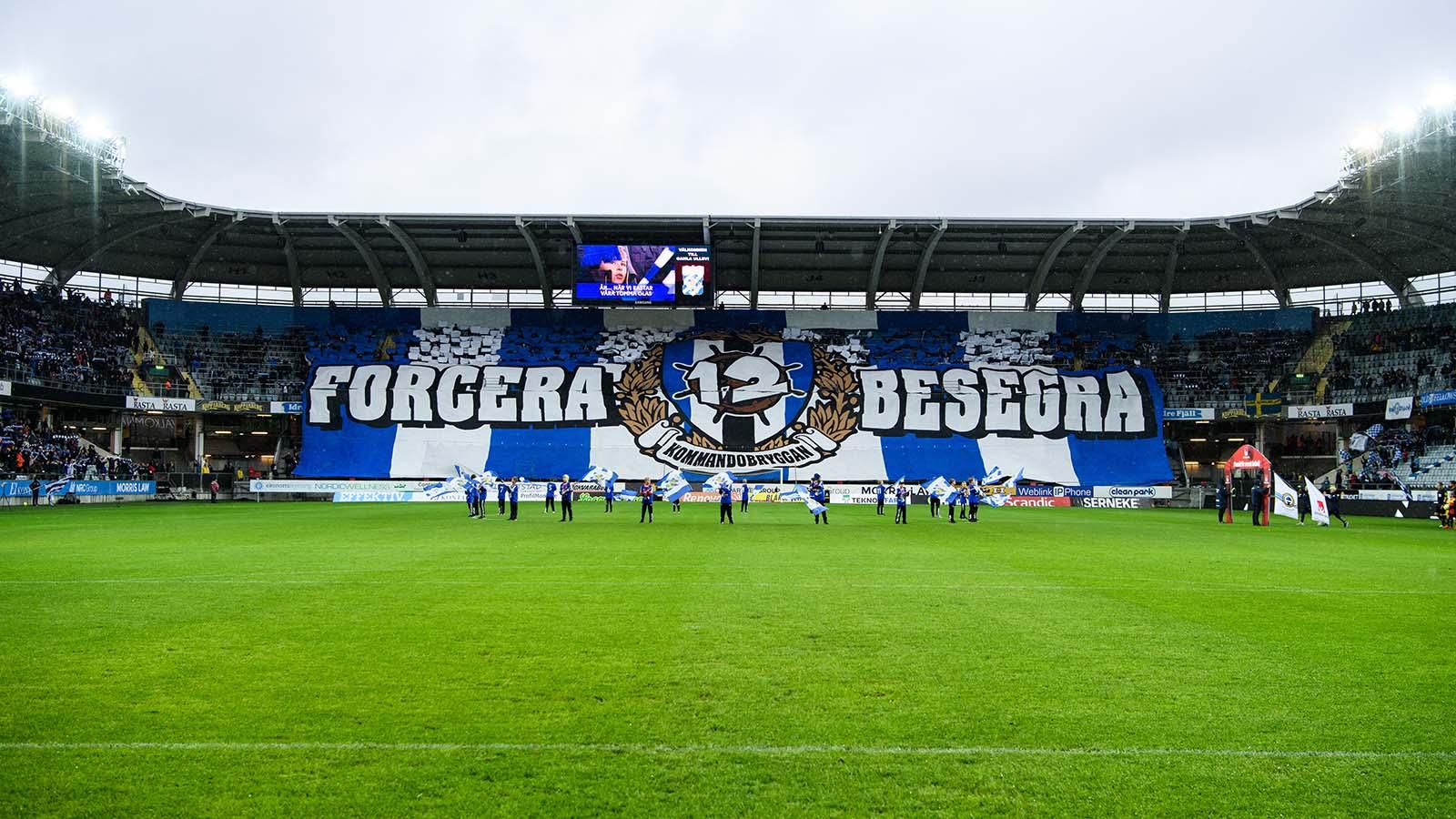180916 IFK Göteborgs supportrar med Tifo under fotbollsmatchen i Allsvenskan mellan IFK Göteborg och Elfsborg den 16 september 2018 i Göteborg. Foto: Jörgen Jarnberger / BILDBYRÅN / Kod JJ / Cop 112