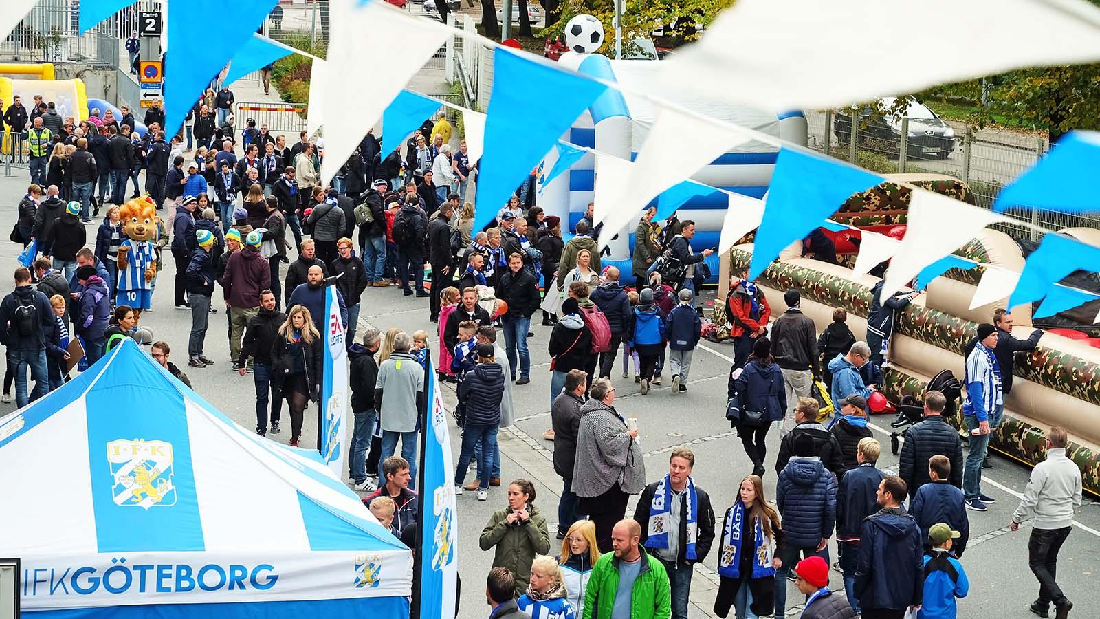 Evenemangsområdet utanför Gamla Ullevi innan matchen mot Trelleborgs FF oktober 2018